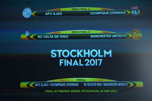 The result of the UEFA Europa league draw for the football competition's semi-finals is pictured on a screen, on April 21, 2017 in Nyon.  / AFP PHOTO / JOEL SAGET