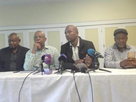 Leaders of Cope, EFF, DA and ACDP - Mosioua Lekota, Dali Mpofu, Mmusi Maimane and Kennth Meshoe briefing journalists in Johannesburg on Monday. Picture: Getrude Makhafola/ANA