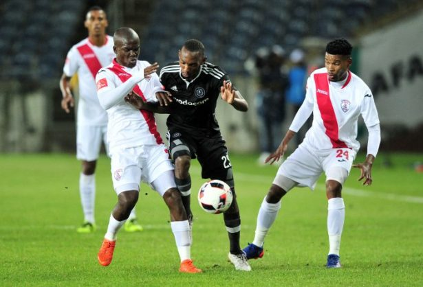 Thabo Rakhale of Orlando Pirates controls as he is challenged by Sthembiso Dlamini of Free State Stars during the Absa Premiership game between Orlando Pirates and Free State Stars at Orlando Stadium. (Ryan Wilkisky/BackpagePix)