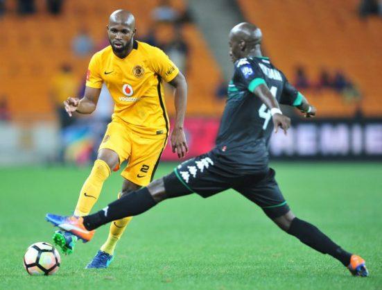 Ramahlwe Mphahlele of Kaizer Chiefs challenged by Musa Nyatama of Bloemfontein Celtic during the Absa Premiership match between Kaizer Chiefs and Bloemfontein Celtic . (Samuel Shivambu/Backpagepix)