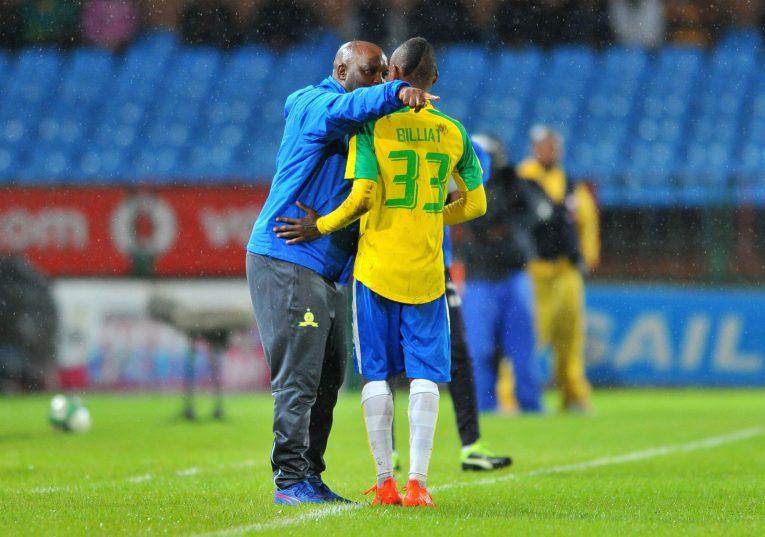 Khama Billiat celebrates a goal with Pitso Mosimane, coach of Mamelodi Sundowns (Samuel Shivambu/BackpagePix)