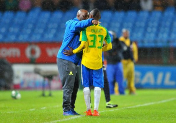Khama Billiat celebrates a goal with Pitso Mosimane, coach of Mamelodi Sundowns (Samuel Shivambu/BackpagePix)