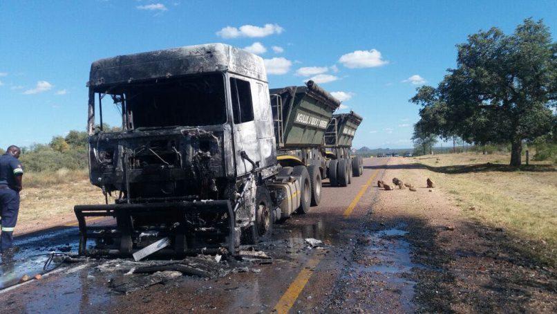 Burnt truck.