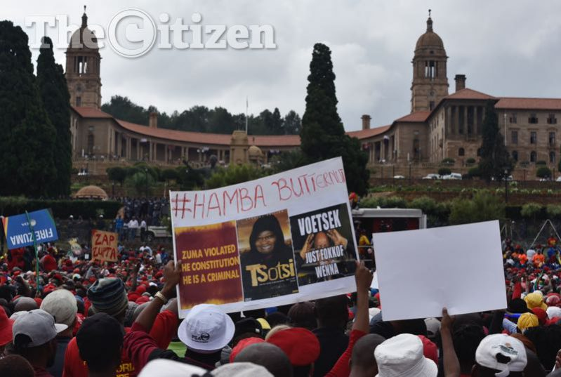 DA, COPE, IFP, EFF, ACDP, APC, UDM members at the Union Building, Pretoria, 12 April 2017, for the march which started at Church Square to the Union Buildings. Picture: Nigel Sibanda