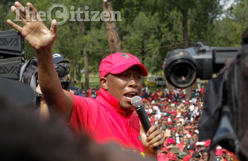 Julius Malema, Leader of the EFF, gives a speech during the Day Of Action march - a civil society and opposition party protest to Union Buildings, Pretoria, against the presidency of Jacob Zuma. Picture: Yeshiel Panchia