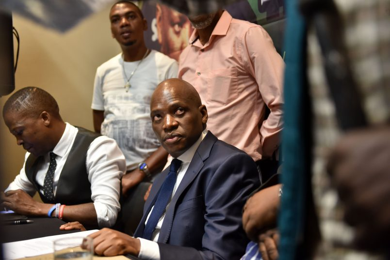 Former SABC COO Hlaudi Motsoeneng waits to speak at a media briefing, 19 April 2017 in Milpark, he was addressing outstanding matters in relation to policies including the 90 % local content at the SABC. Picture: Tracy Lee Stark