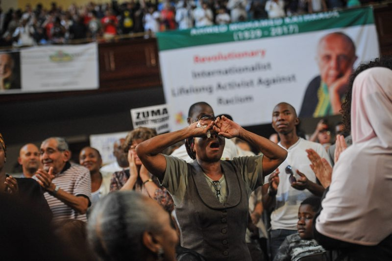 Hundreds of South African Comunist Party members and supporters cheer during the late Anti Apartheid activist Ahmed Kathrada's memorial service at the Johannesburg CIty Hall on April 1, 2017 in Johannesburg. Picture: Jacques Nelles