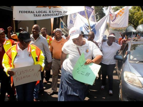 Taxi bosses march against taxi rapes.Photo: Thato Mahlangu
