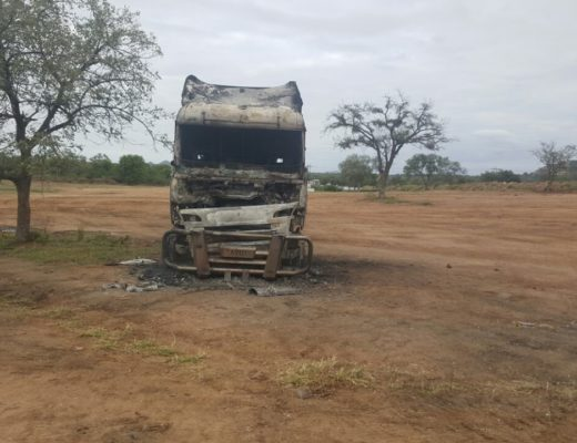 One of the burned out trucks that was set alight.