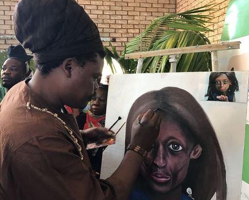 Zimbabwean artist Libani Sirenje painted a stunning portrait of Ontlametse at her memorial service today.