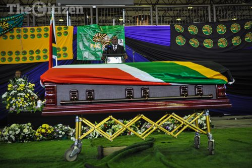 Gauteng Premier, David Makhura addressing mourners at the Pretoria Showgrounds attending a funeral service held for Philip Ata Kgosana, a Pan Africanist Congress of Azania stalwart, 28 April 2017, Pretoria. Picture: Jacques Nelles