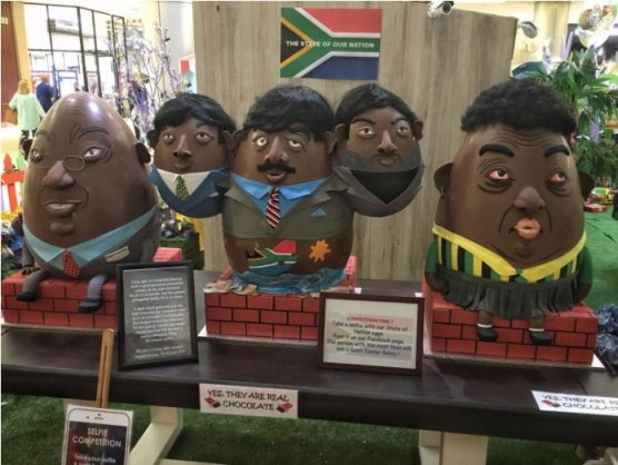Pravin Gordhan, the Gupta brothers and Bathabile Dlamini as Easter eggs. Picture: Michel Bega