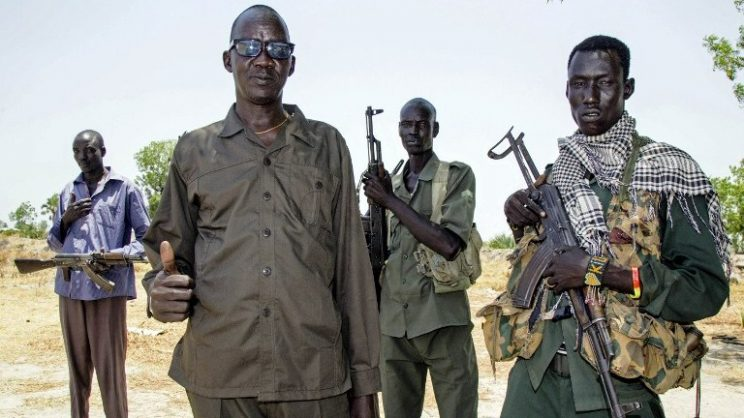 South Sudanese opposition commander Brigadier General Mawich Nial and his bodyguards.