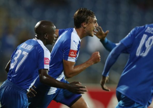 Andrea Fileccia of Maritzburg Utd  after his goal during the Absa Premiership match between Maritzburg United and Ajax Cape Town at Harry Gwala Stadium. (Photo by Steve Haag/Gallo Images)