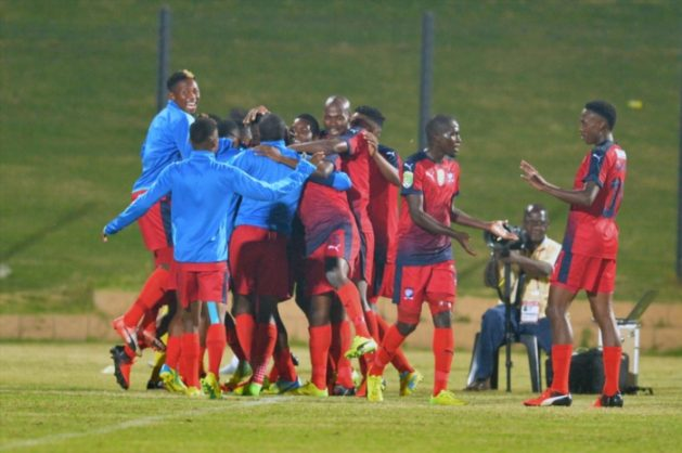 Jomo Cosmos players celebrates during the Nedbank Cup last 16 match between Jomo Cosmos and Bidvest Wits at Tsakane Stadium on April 04, 2017 in Johannesburg, South Africa. (Photo by Lefty Shivambu/Gallo Images)