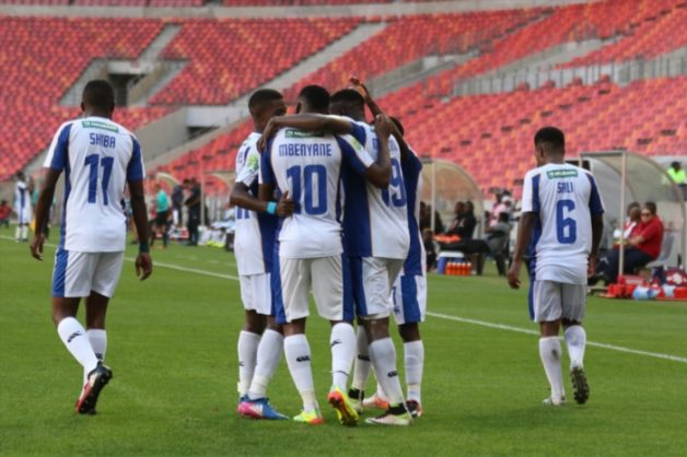 Teammates congratulate Andile Mbenyane of Chippa United on his goal during the Nedbank Cup last 16 match between Chippa United and Polokwane City at Nelson Mandela Bay Stadium on April 08, 2017 in Port Elizabeth, South Africa. (Photo by Richard Huggard/Gallo Images)