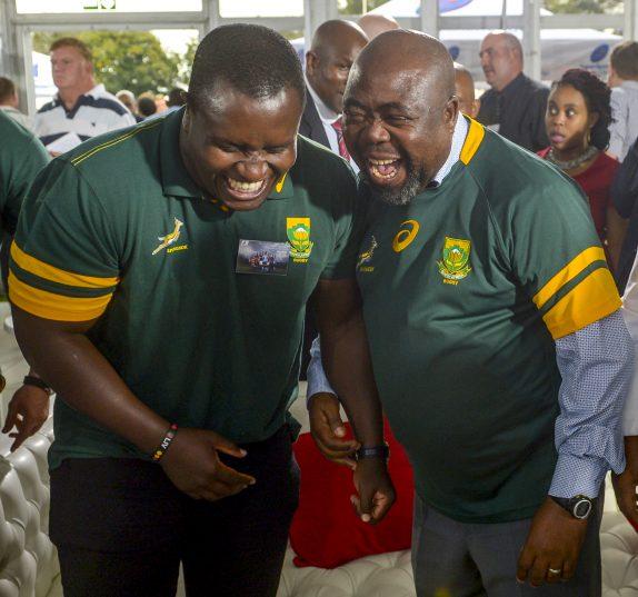 New Sports Minister Thulas Nxesi had some fun with Springbok prop Trevor Nyakane. Photo: Sydney Seshibedi/Gallo Images.