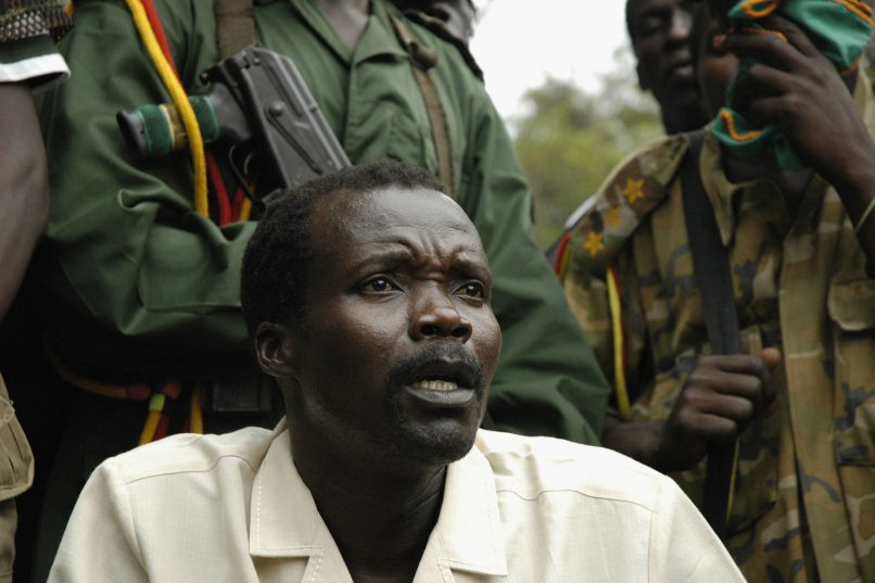 SOUTHERN SUDAN - AUGUST 1:  Joseph Kony, leader of the rebel group the Lord?s Resistance Army that has been fighting a war against the Ugandan government for the past twenty years, makes a rare statement to the media during peace talks on August 1, 2006 on the Congo-Sudan Border.   The peace talks are are being mediated by the Southern Sudanese government.Two day later on August 3, 2006, Kony?s second in charge released a statement via a radio interview that the LRA would not take part in further peace talks without a change of mediation team and a decleration of ceasefire from the Ugandan government.   (Photo by Adam Pletts/Getty Images)