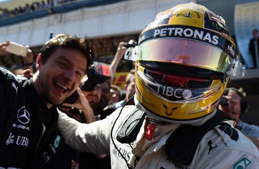 Lewis Hamilton celebrates a worthy win. Photo: Tom Gandolfini/AFP.
