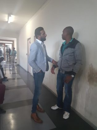 Fraud accused Brendon Naidoo (left) after he appeared in the Alexandra Magistrate Court. Picture: Lindi Masinga/ANA