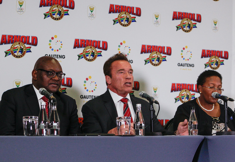 The Premier of Gauteng David Makhura, Arnold Schwarzenegger, actor and fitness icon and Faith Mazibuko attend a press conference at the Sandton Sun in Johannesburg. Schwarzenegger was in attendance for the launch of Arnold Classic Africa, a fitness competition and expo in Johannesburg. 5 May 2017. Picture: Yeshiel Panchia