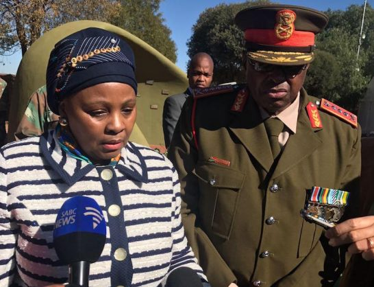 SA defence minister Nosiviwe Mapisa-Nqakula with former chief of the SA Army Vusi Masondo at a wreath-laying ceremony for SANDF soldiers who died while serving under the United Nations command in other African countries. Picture: Jonisayi Maromo/ANA