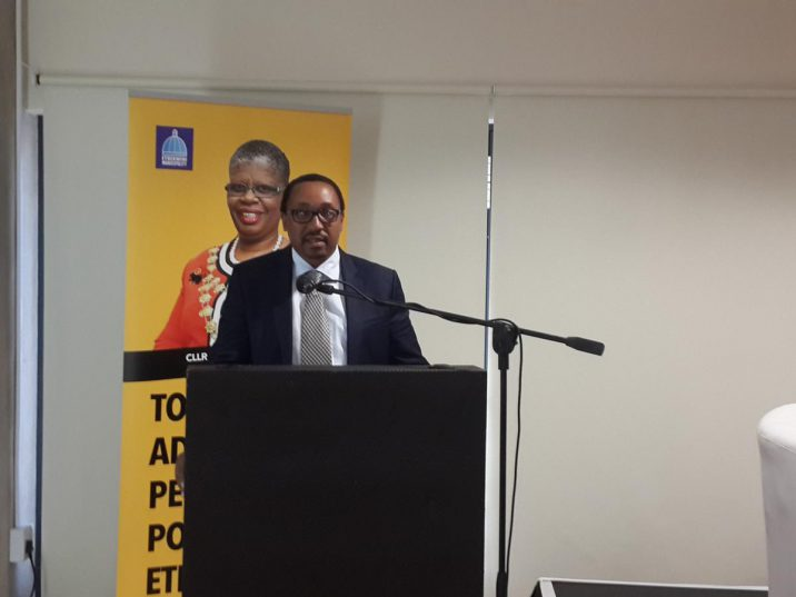eThekwini Metro's new city manager, Sipho Nzuza, speaking at a business breakfast at Moses Mabhida Stadium in Durban on Friday. Picture: Desiree Erasmus/ANA