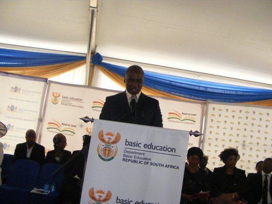 Transport Minister Joe Maswanganyi addressing mourners at a funeral service in Verena village in Mpumalanga. Picture: ANA/Balise Mabona