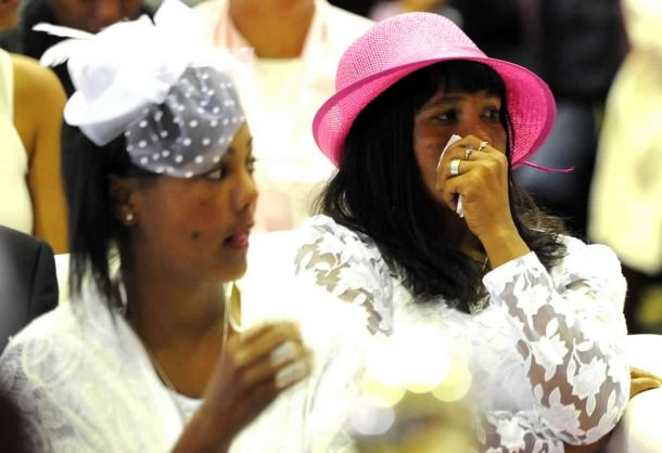 Murdered three-year-old Courtney's mother Juanita Pieters and an unidentified companion at the toddlers funeral in Cape Town. Photo: ANA/Ayanda Ndamane