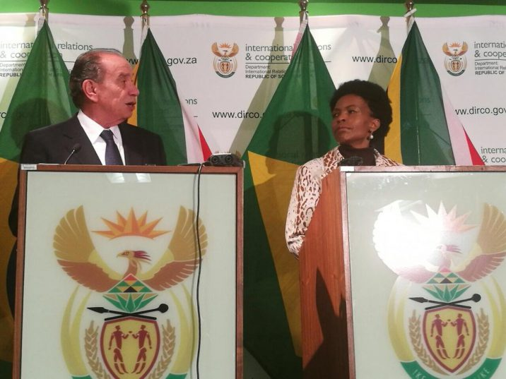South Africa's International Relations Minister Maite Nkoana-Mashabane and her Brazilian counterpart Aloysio Nunes Ferreira addressing a joint media briefing after a meeting in Pretoria on Monday. Picture: ANA