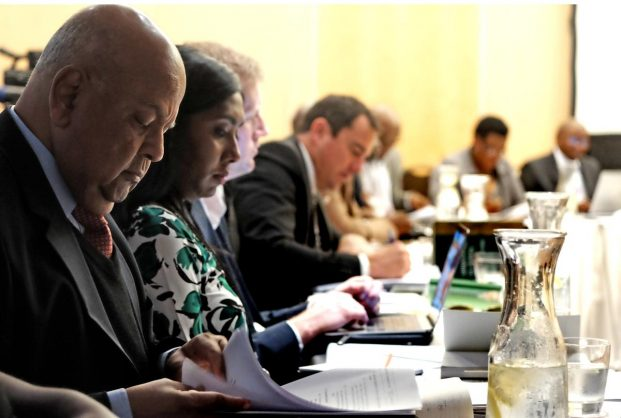 Former finance minister Pravin Gordhan and now ordinary ANC MP Pravin Gordhan during the portfolio committee on public enterprises meeting. Picture: ANA
