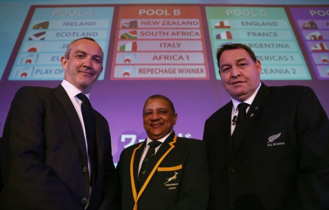Allister Coetzee is flanked by his Italian and New Zealand counterparts, Conor O'Shea and Steve Hansen.  Photo: Dave Rogers - World Rugby/World Rugby via Getty Images.