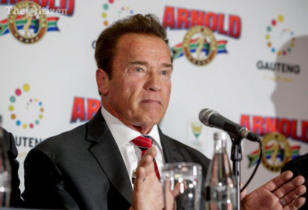 Arnold Schwarzenegger, actor and fitness icon, heads up a press conference at the Sandton Sun in Johannesburg. Schwarzenegger was in attendance for the launch of Arnold Classic Africa, a fitness competition and expo in Johannesburg. 5 May 2017. Picture: Yeshiel Panchia