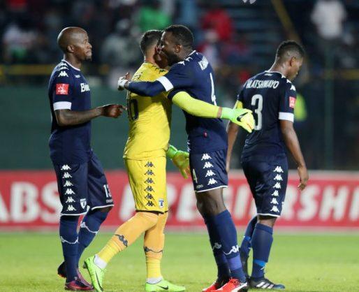 Moeneeb Josephs celebrates with teammate Bongani Khumalo of Bidvest Wits during the Absa Premiership match between Bidvest Wits and Orlando Pirates at Bidvest Stadium. (Muzi Ntombela/BackpagePix)