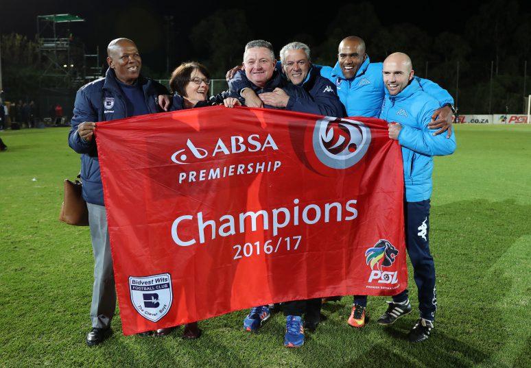 Gavin Hunt and Jose Ferreira as Bidvest Wits win the 2016/17 Absa Premiership title during football match between Bidvest Wits and Polokwane City at Bidvest Stadium. (Gavin Barker/BackpagePix)
