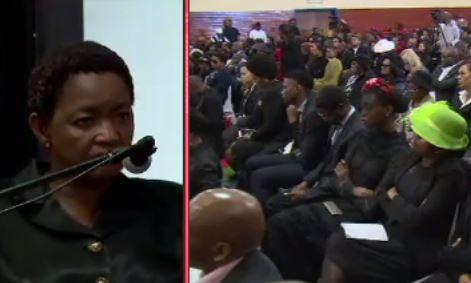 Bathabile Dlamini delivered a speech on women abuse at Karabo Mokoena's funeral.