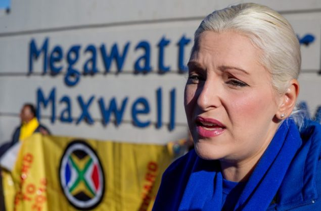 Natasha Mazzone, the Democratic Alliance Shadow Minister for Public Enterprises, speaks to the media outside Megawatt Park in Sunninghill, Johannesburg. Picture: Yeshiel Panchia