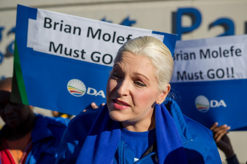Natasha Mazzone, the Democratic Alliance Shadow Minister for Public Enterprises, speaks to the media outside Megawatt Park in Sunninghill, Johannesburg. Members of the DA, COPE and some private citizens protested the reinstatement of Brian Molefe as CEO of Eskom, who resigned under a cloud of suspicion earlier this year. 15 May 2017. Picture: Yeshiel Panchia