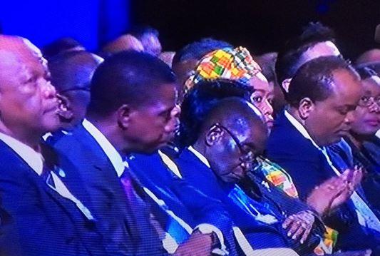 President Robert Mugabe napping at WEF Africa. Image Twitter