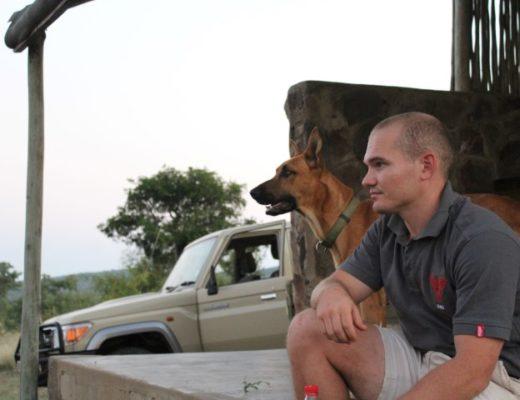 Sean van Niekerk and faithful companion, Hunter surveying the reserve.