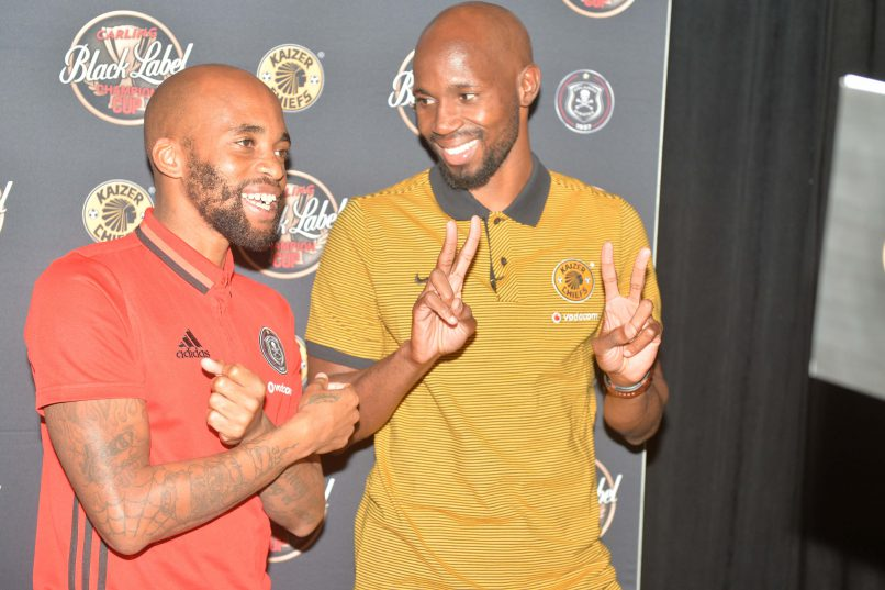 Ramahlwe Mphahlele and Oupa Manyisa during the Carling Black Label Champion Cup launch at Park Station . (Photo by Lefty Shivambu/Gallo Images)