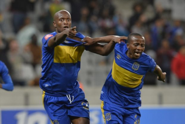 Judas Moseamedi of Cape Town City FC during the Absa Premiership match between Cape Town City FC and Free State Stars at Cape Town Stadium on May 05, 2017 in Cape Town, South Africa. (Photo by Ashley Vlotman/Gallo Images)