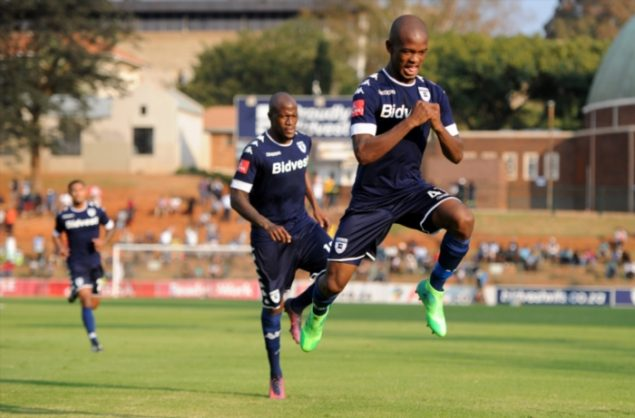Phumlani Ntshangase celebrating his goal with Sfiso Hlanti during the Absa Premiership match between Bidvest Wits and Maritzburg United at Bidvest Stadium on May 07, 2017 in Johannesburg, South Africa. (Photo by Gallo Images)