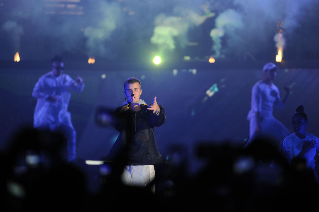 Justin Bieber performs at the FNB Stadium, 14 May 2017, in Johannesburg. The rain and cold weather did not dampen the excitement of 63 000 fans that packed the stadium for the pop star. Picture: Michel Bega