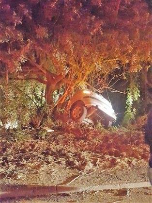 May 6 - A man believed to be in his 40s died when his car left the road and crashed into a tree in Bellair Road in Durban in the early hours of Saturday morning. Photo: Rescue Care