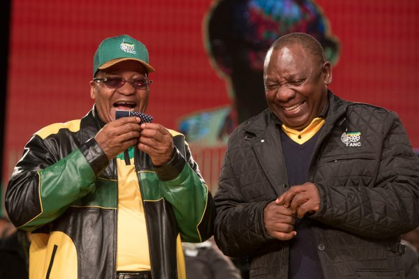 ANC President Jacob Zuma (left) and his deputy Cyril Ramaphosa at the opening session of the ANC's 5th national policy conference at Nasrec, Johannesburg. Picture: Yeshiel Panchia