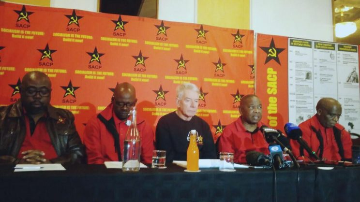 The SACP leadership briefing the media at a press conference in Johannesburg after the party's central committee meeting this weekend. Photo: ANA/Getrude Makhafola
