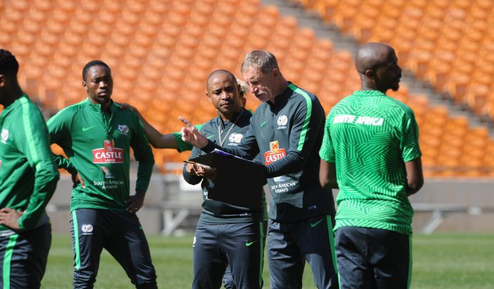 Stuart Baxter coach of South Africa with his assistant Thabo Senong. (Sydney Mahlangu /BackpagePix)