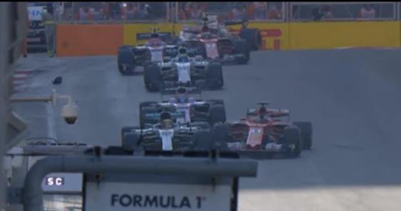 Sebastian Vettel (R) seemingly deliberately drives into Lewis Hamilton. Photo: Screengrab
