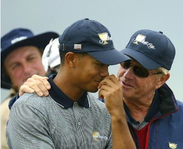 Tiger Woods and Jack Nicklaus. Photo: Stuart Franklin/Getty Images.
